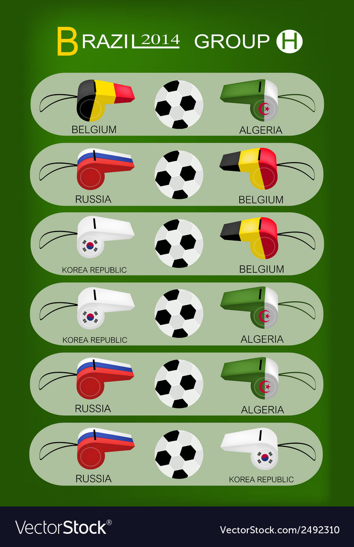 Soccer tournament of brazil 2014 group h vector | Price: 1 Credit (USD $1)
