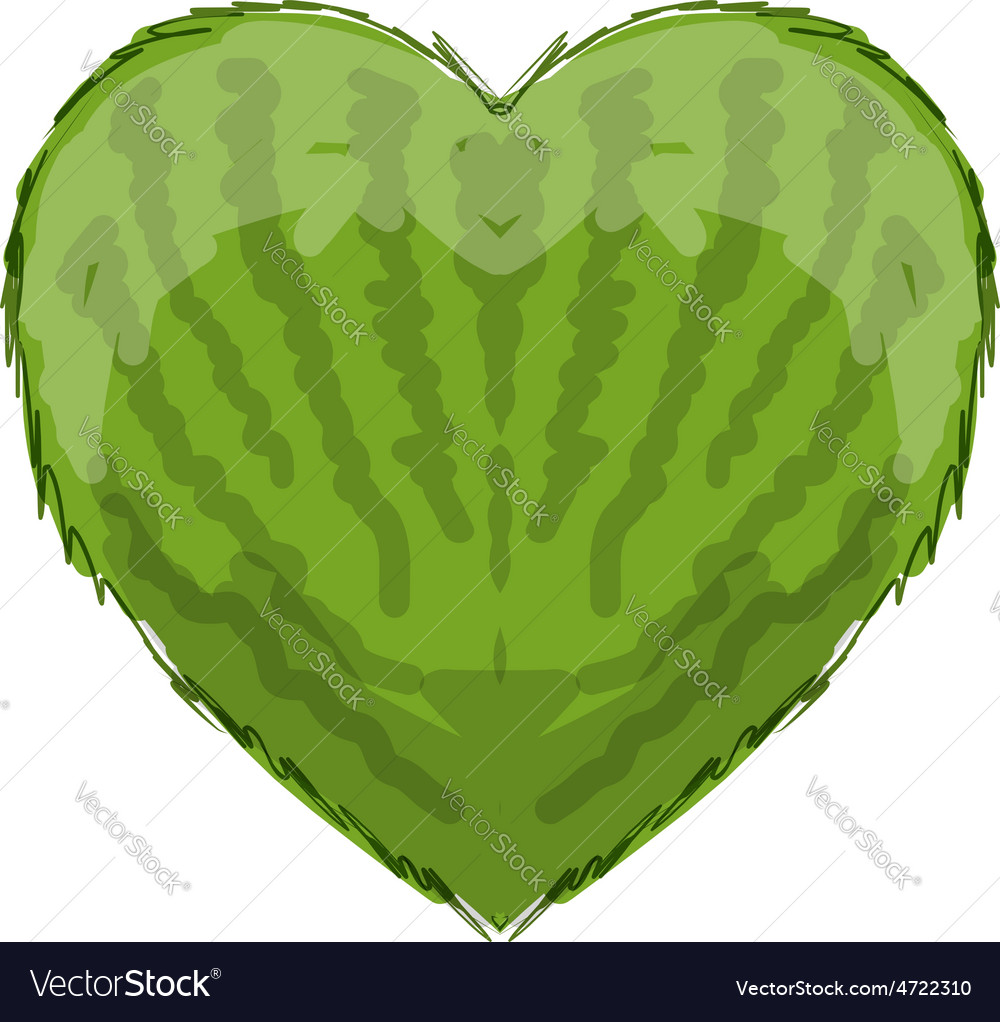 Watermelon heart shape for your design vector | Price: 1 Credit (USD $1)