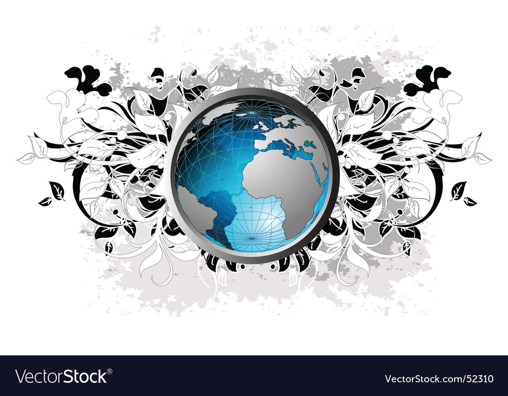 World floral vector | Price: 1 Credit (USD $1)