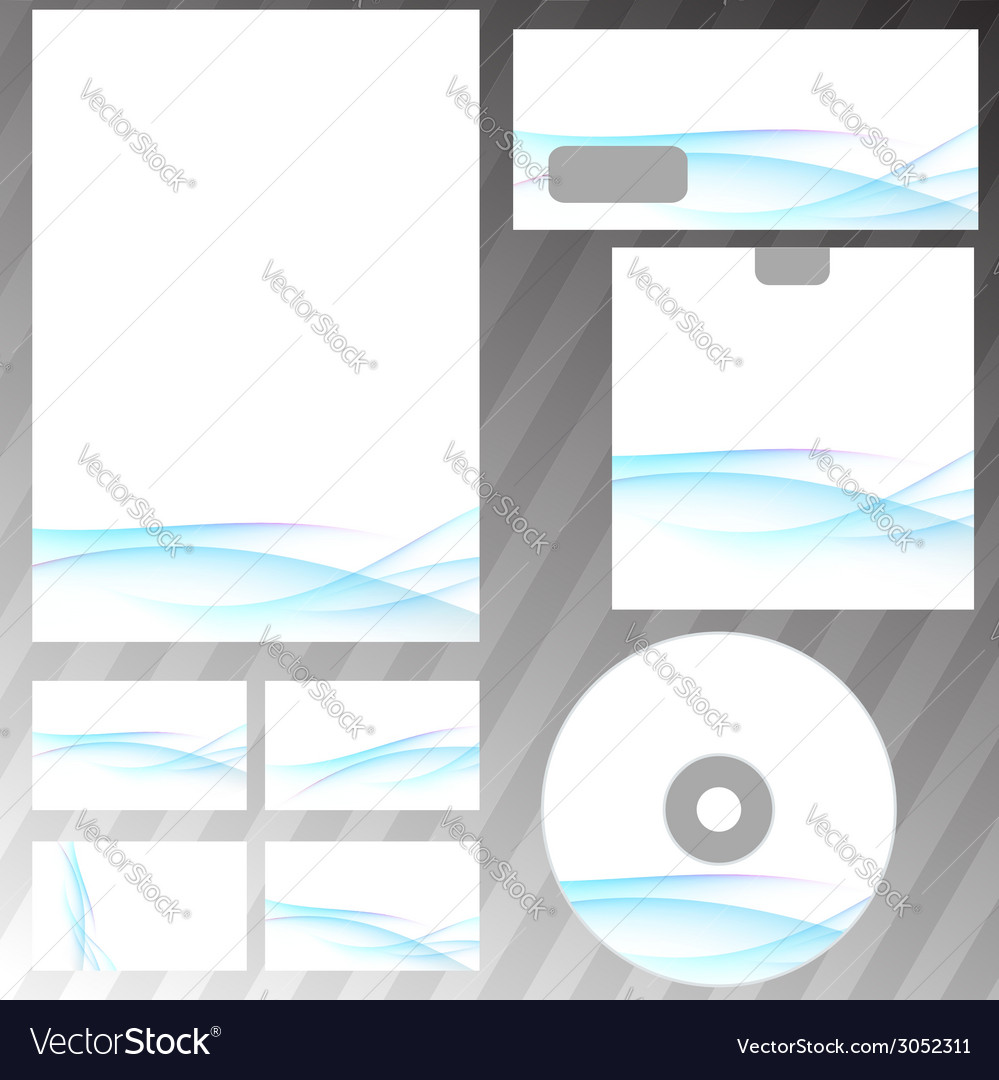 Blue swoosh wave corporate stationery set vector | Price: 1 Credit (USD $1)