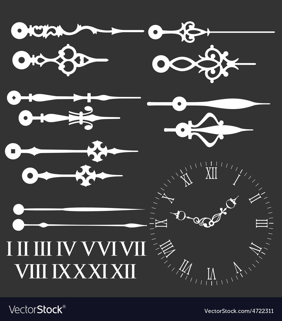 Clock face with variations of clock hands vector | Price: 1 Credit (USD $1)