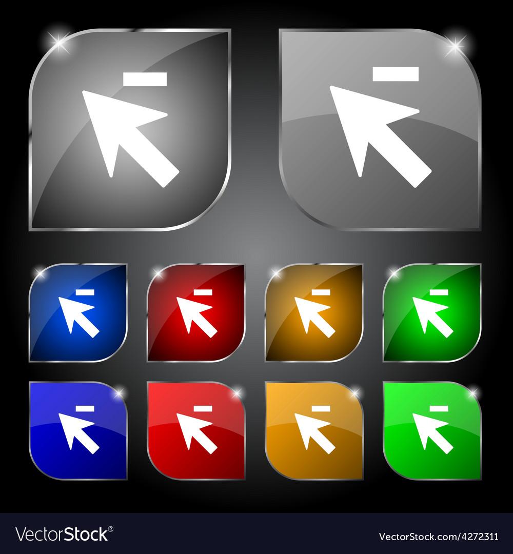Cursor arrow minus icon sign set of ten colorful vector | Price: 1 Credit (USD $1)
