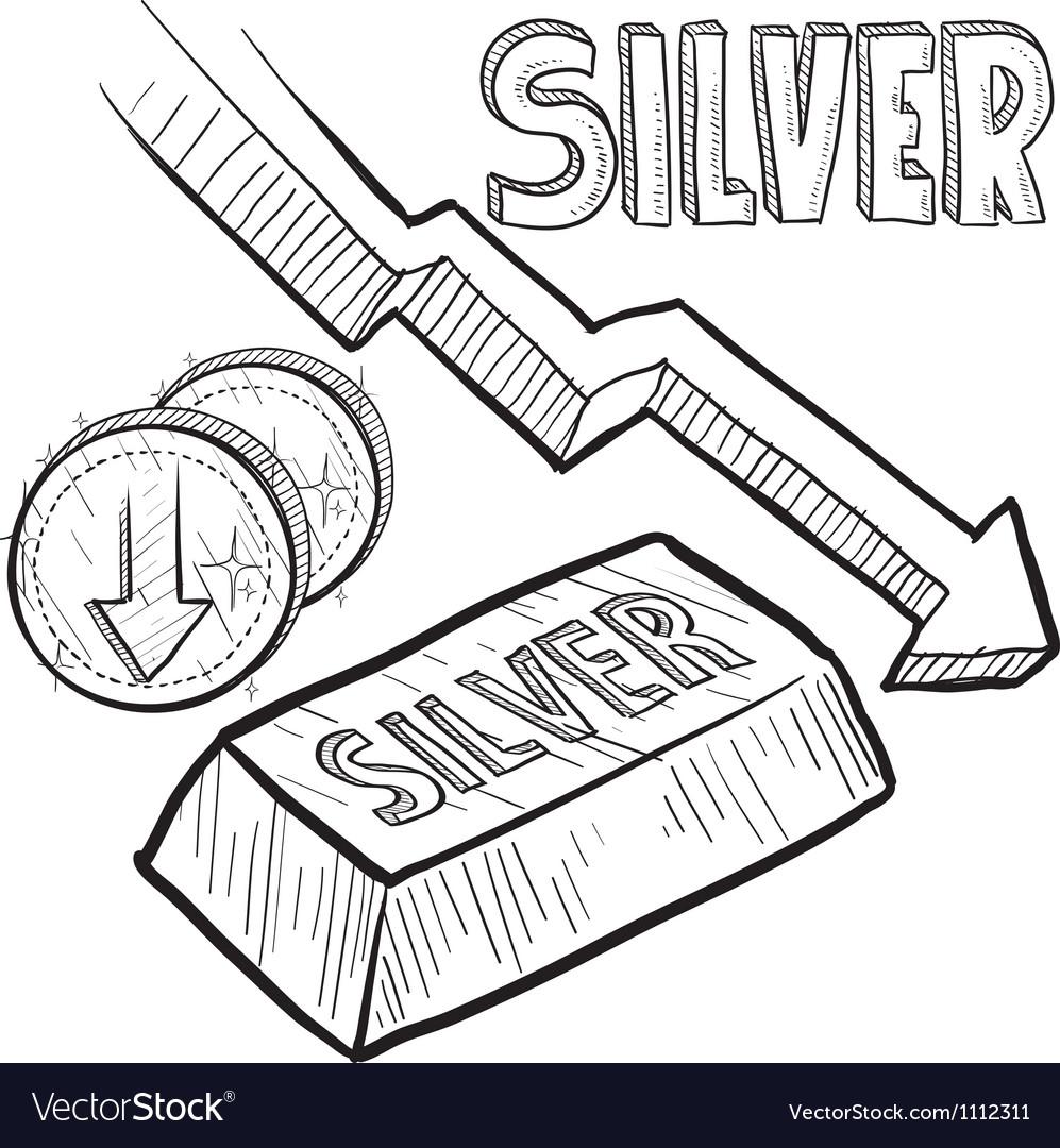 Doodle currency silver decrease vector | Price: 1 Credit (USD $1)