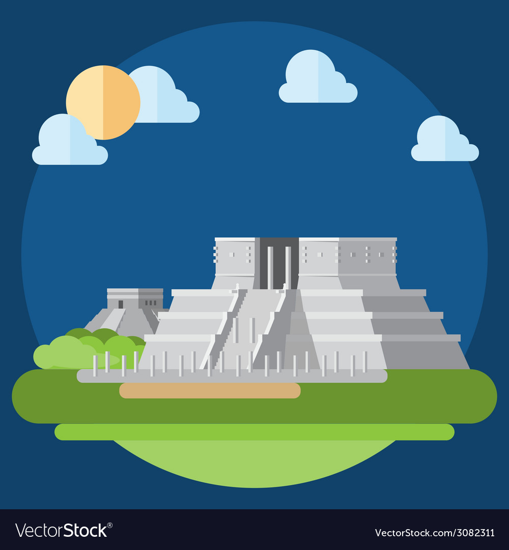 Flat design of chichen itza vector | Price: 1 Credit (USD $1)
