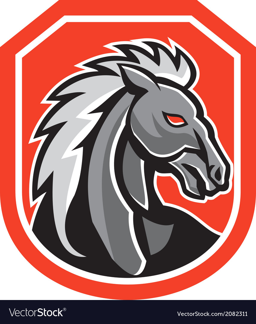 Horse head shield retro vector | Price: 1 Credit (USD $1)