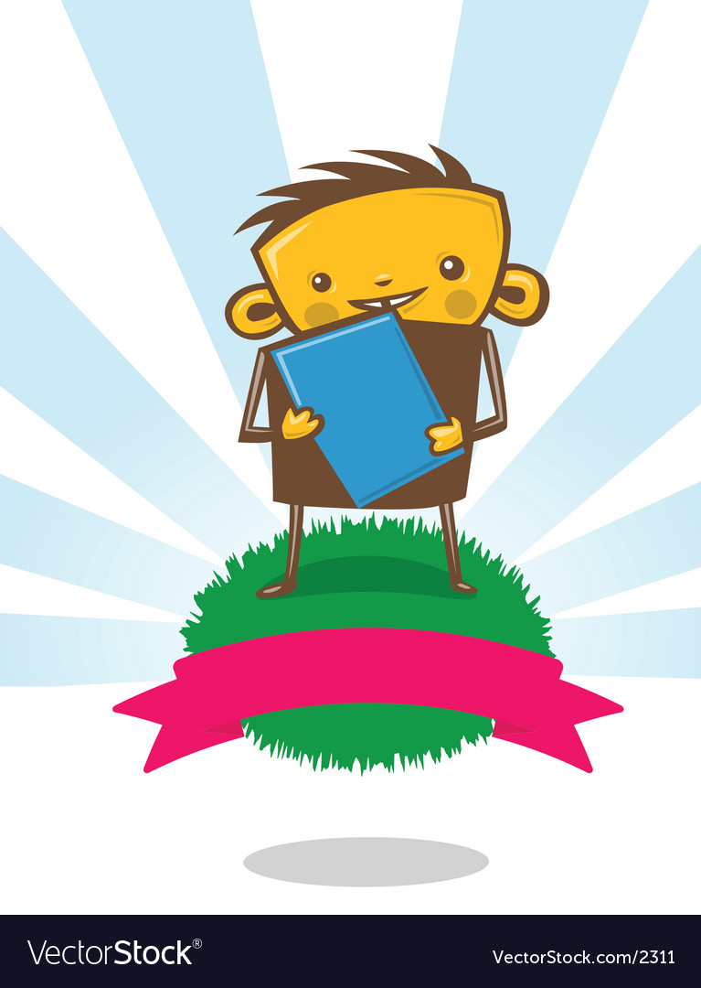 Kid holding book vector | Price: 3 Credit (USD $3)
