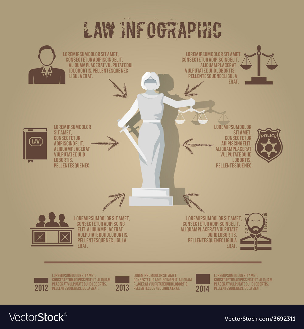 Law infographic symbols icon poster vector | Price: 1 Credit (USD $1)