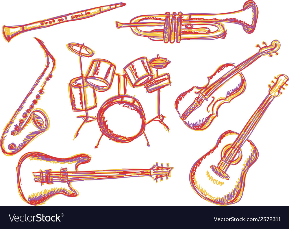Music instruments doodles vector | Price: 1 Credit (USD $1)