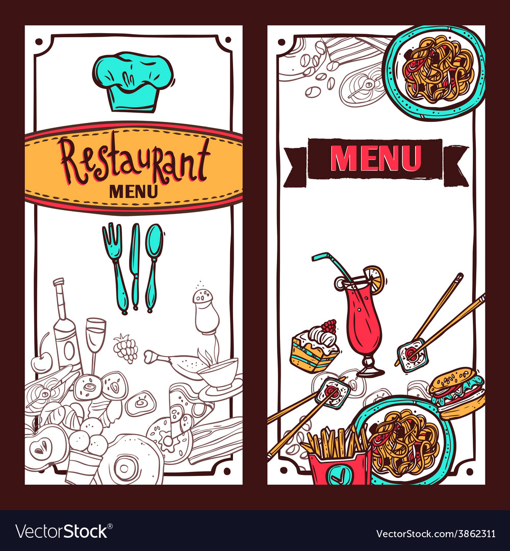 Restaurant menu food banners set vector | Price: 1 Credit (USD $1)