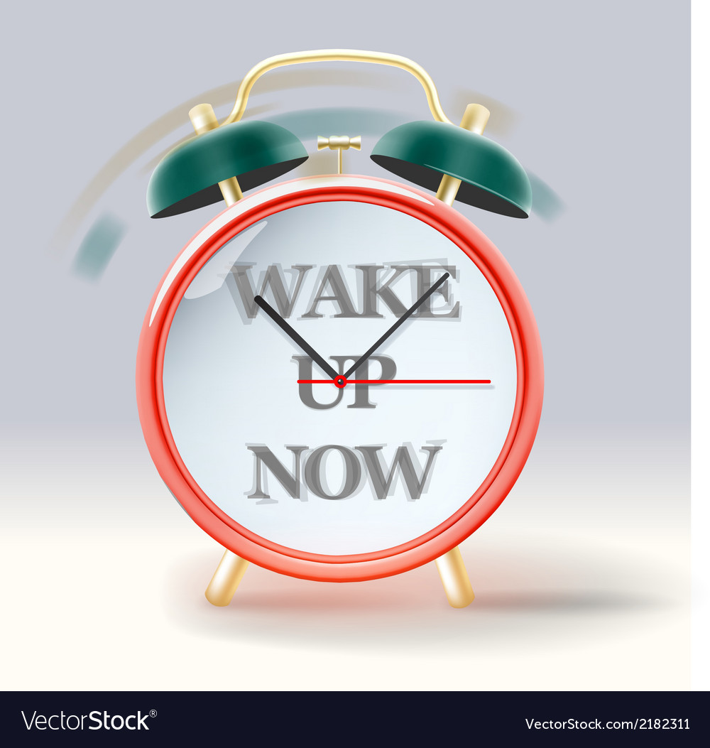 Retro alarm clock with inscription wake up now vector | Price: 1 Credit (USD $1)