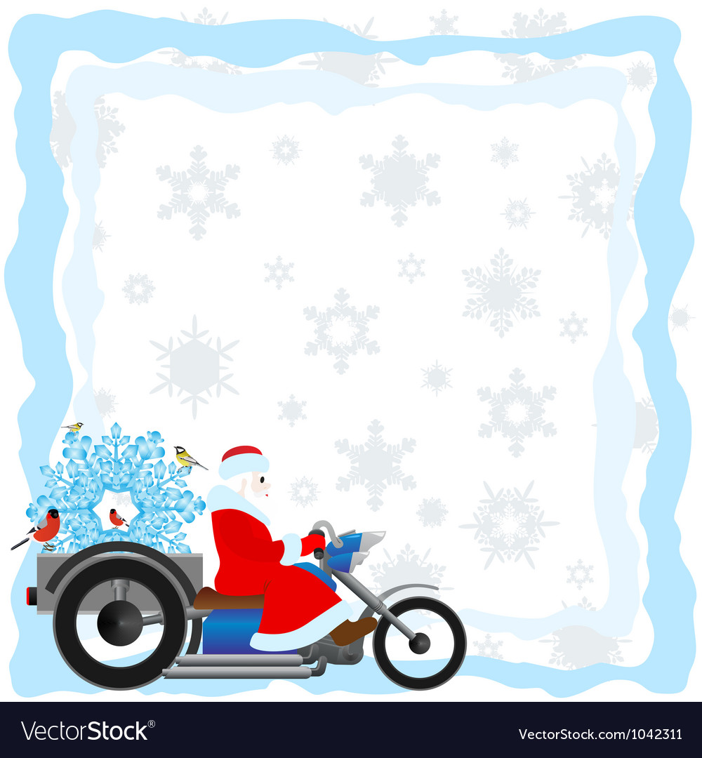 Santa on a motorcycle vector | Price: 1 Credit (USD $1)