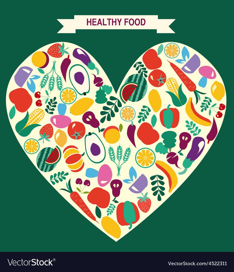 Vegetarian symbol healthy food icons vector | Price: 1 Credit (USD $1)
