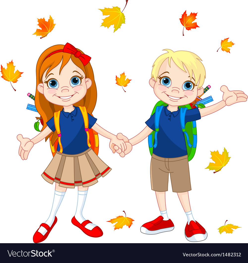 Boy and girl ready to school vector | Price: 3 Credit (USD $3)