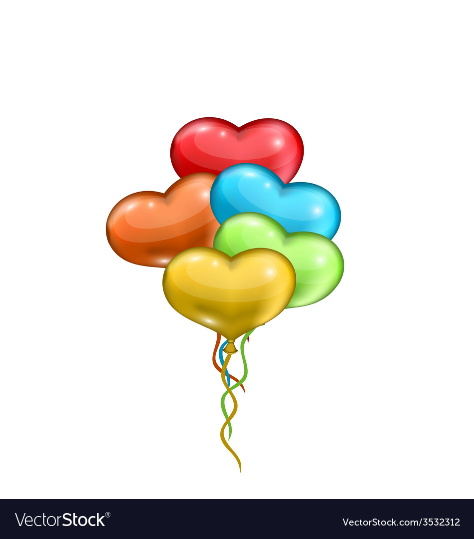 Bunch colorful balloons in the shape of hearts vector | Price: 1 Credit (USD $1)