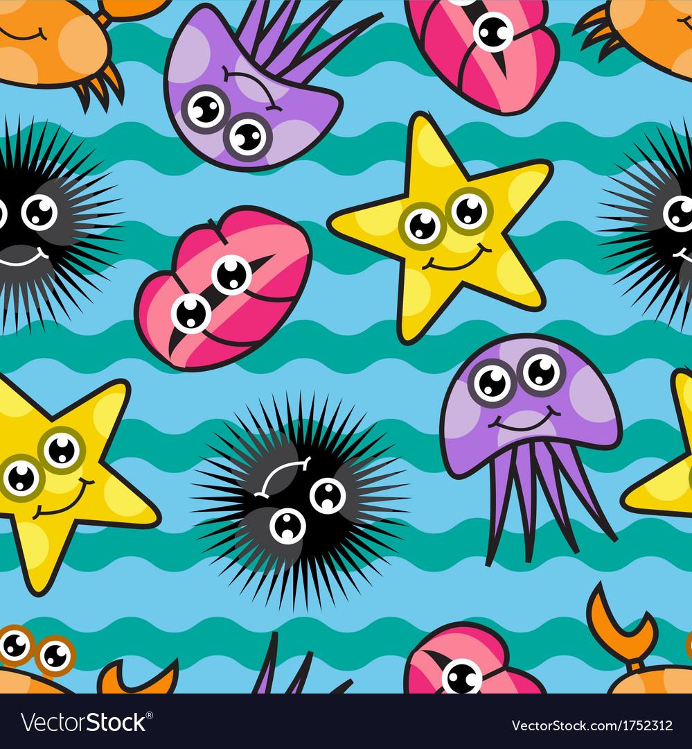 Cartoon seamless pattern with marine life vector | Price: 1 Credit (USD $1)