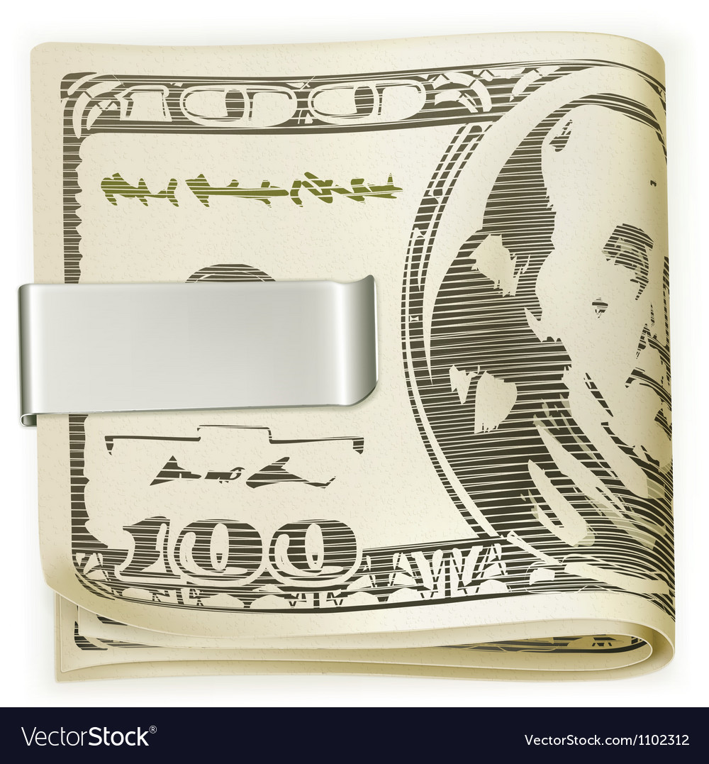 Cash folded in a money clip vector | Price: 1 Credit (USD $1)