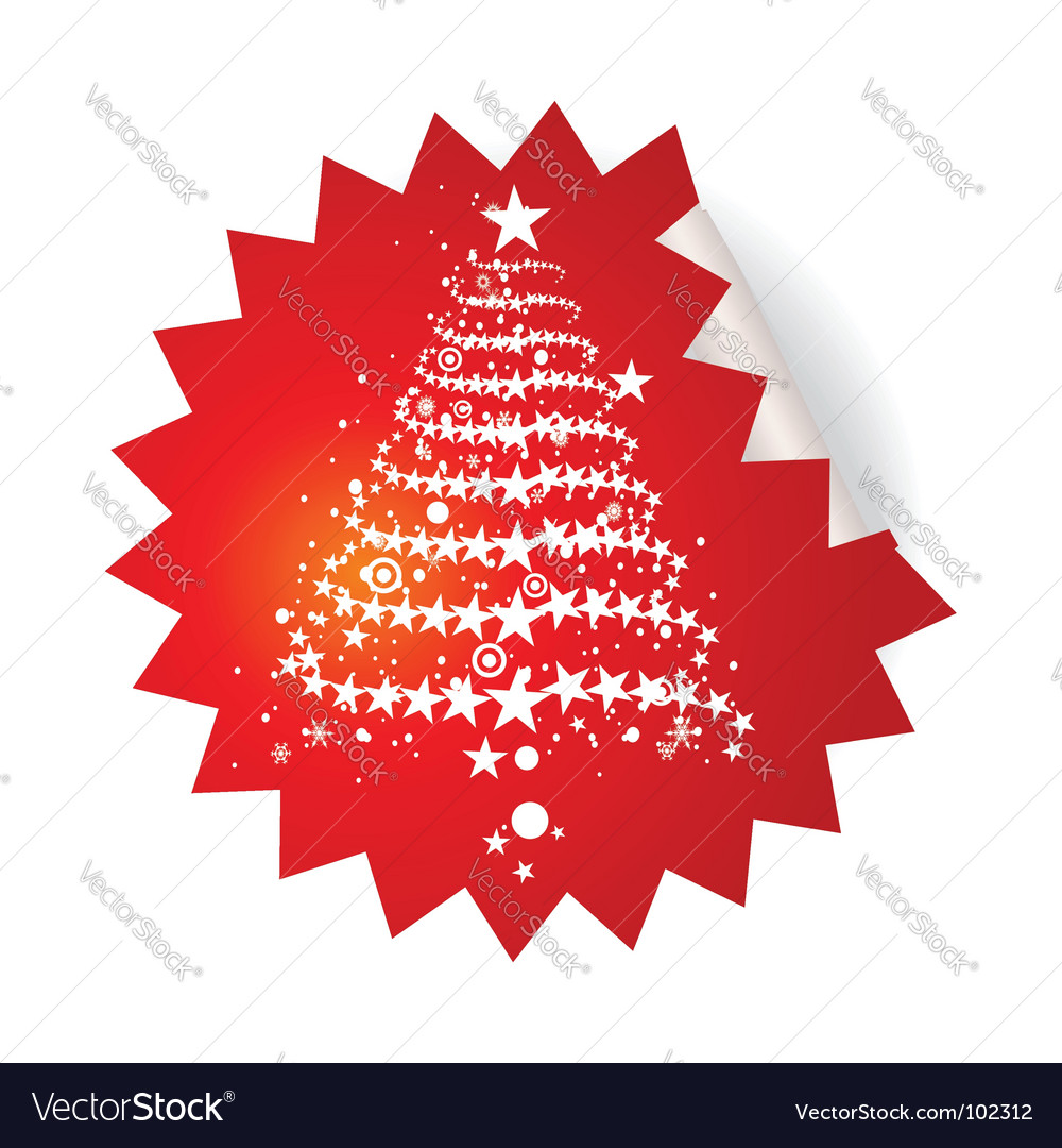 Christmas tree sticker vector | Price: 1 Credit (USD $1)