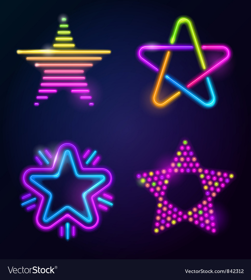 Decorative neon stars vector | Price: 1 Credit (USD $1)