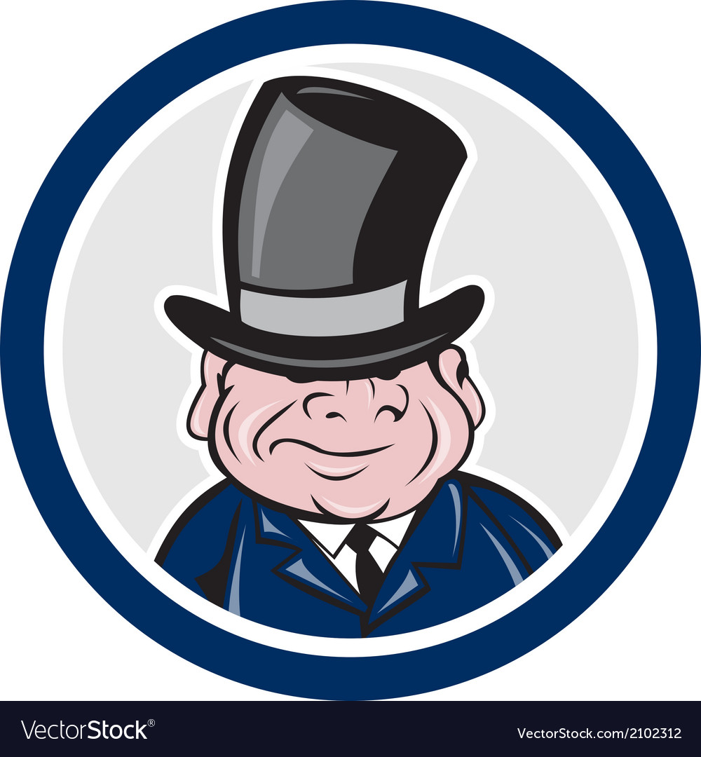Man wearing top hat smiling circle cartoon vector | Price: 1 Credit (USD $1)