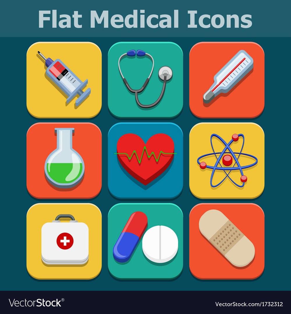 Medical flat color icons set vector | Price: 1 Credit (USD $1)