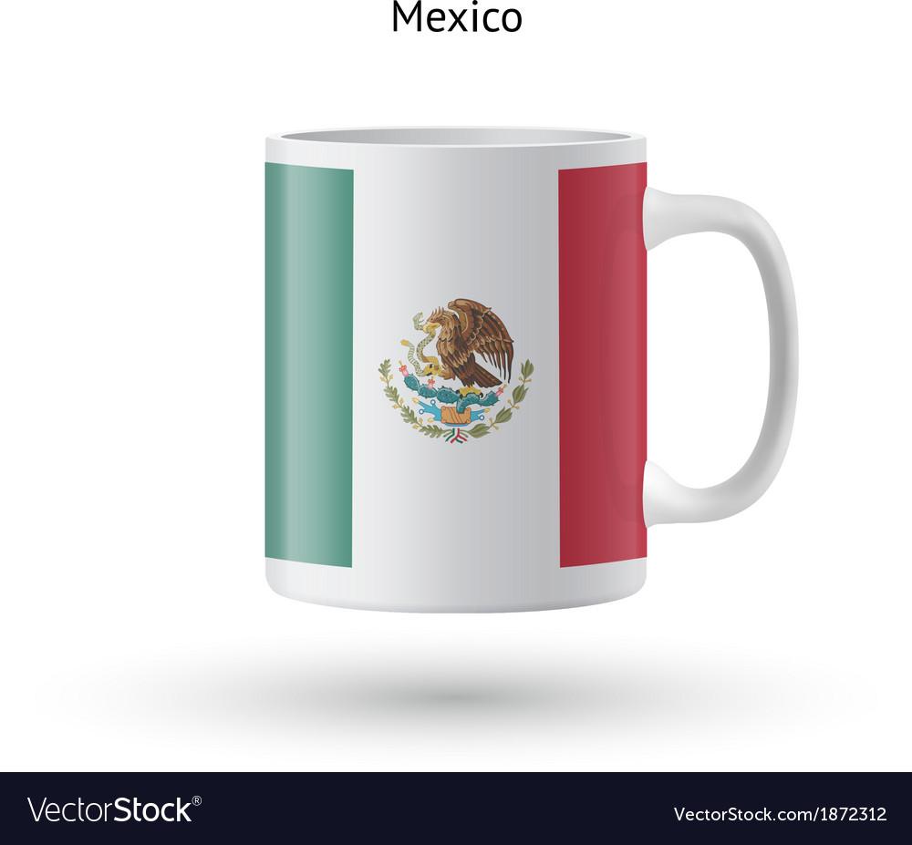 Mexico flag souvenir mug on white background vector | Price: 1 Credit (USD $1)