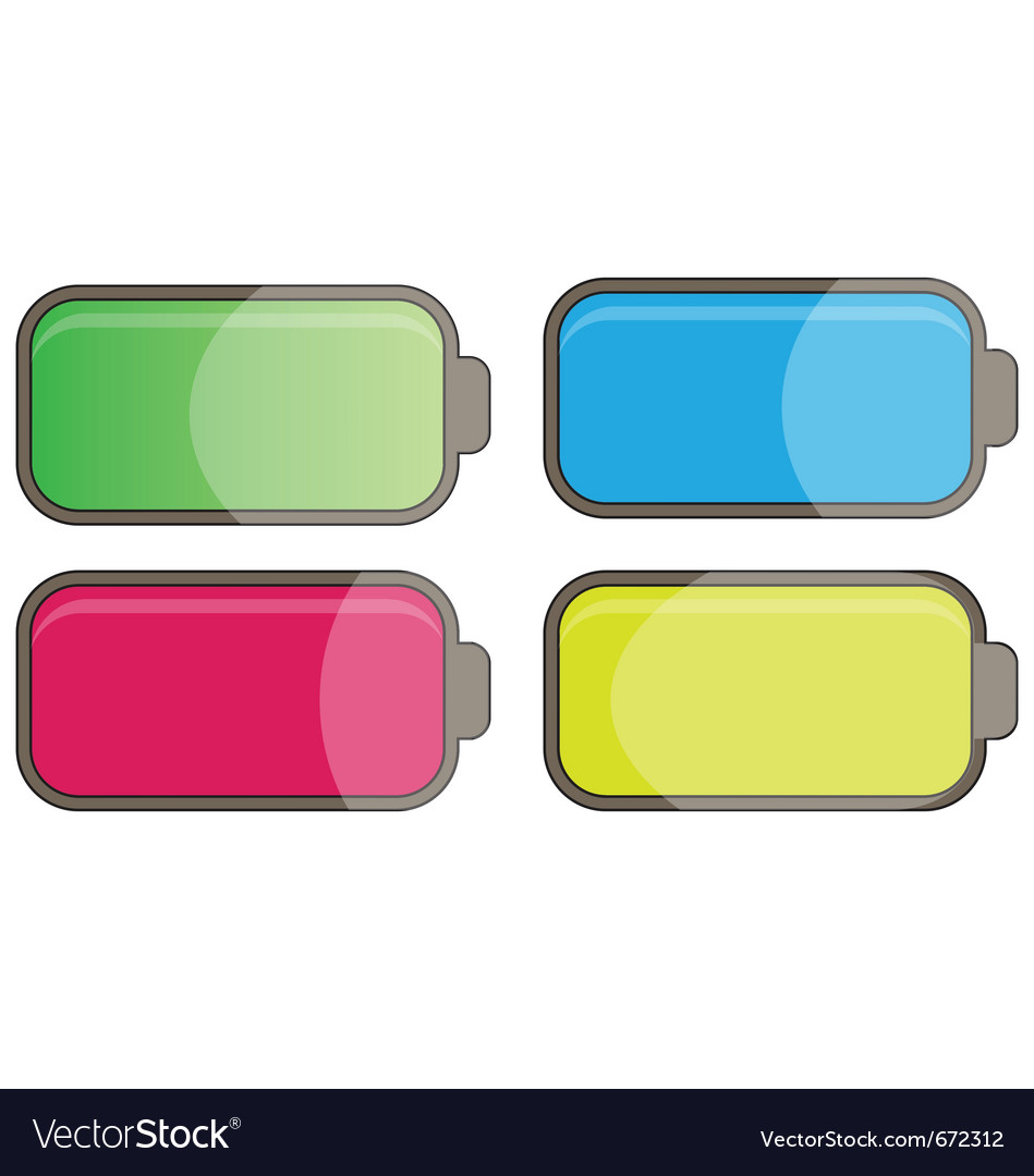 Multicolor glossy batteries vector | Price: 1 Credit (USD $1)