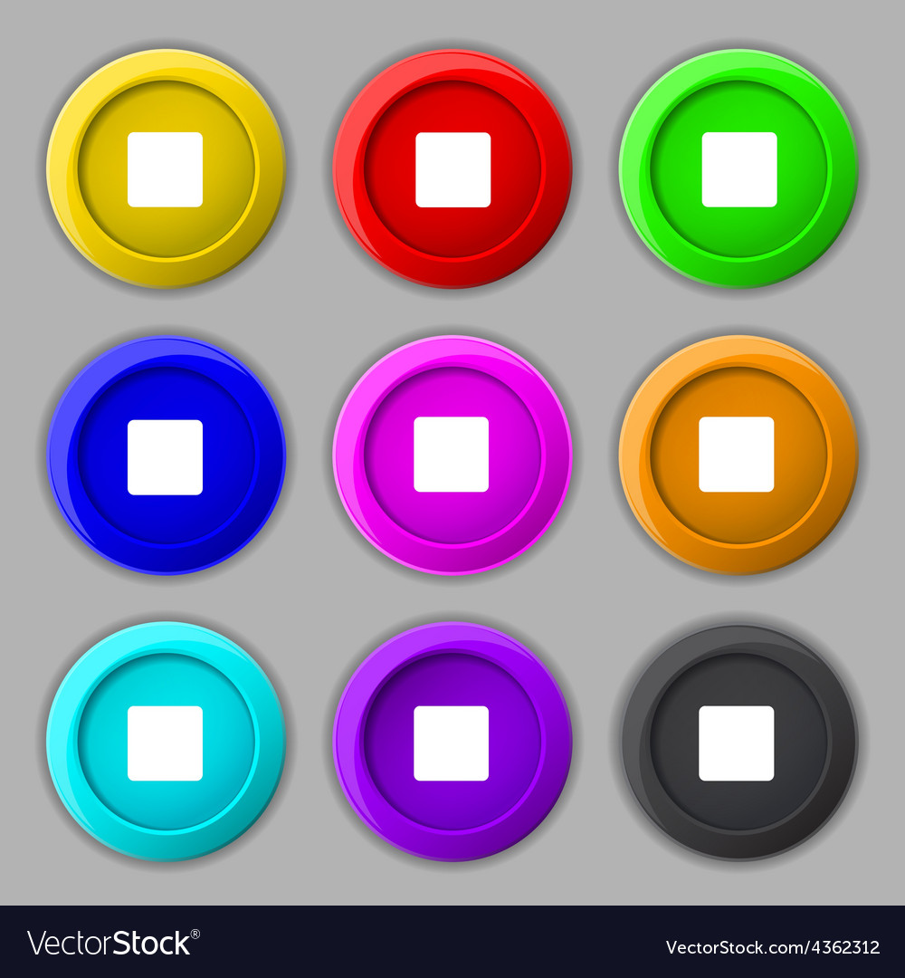 Stop button icon sign symbol on nine round vector   Price: 1 Credit (USD $1)
