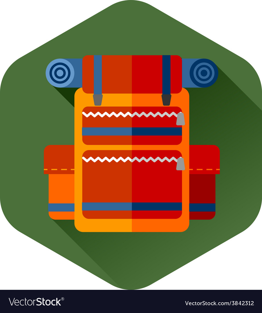 Travel backpack orange vector   Price: 1 Credit (USD $1)