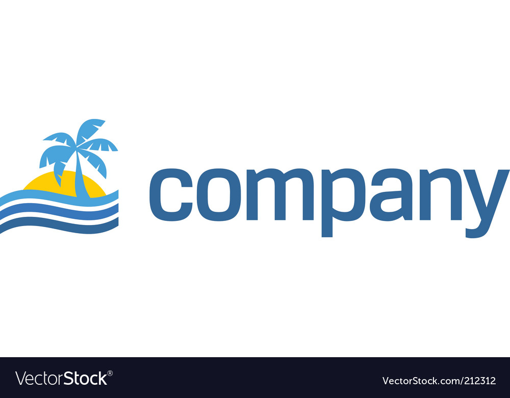 Tropical beach travel logo vector | Price: 1 Credit (USD $1)