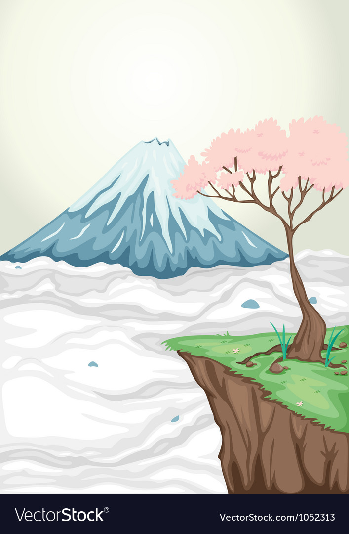 A volcano mouth and a tree vector | Price: 1 Credit (USD $1)