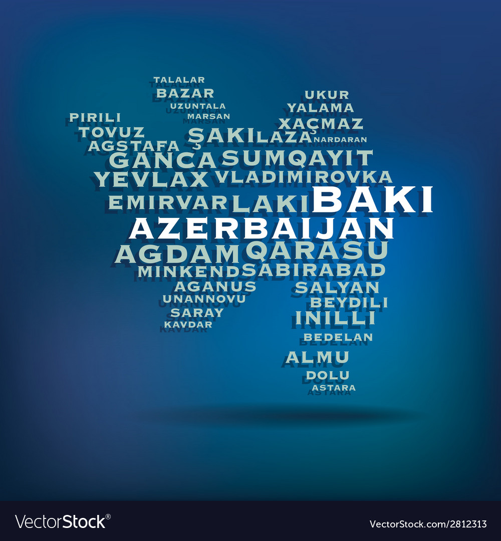 Azerbaijan map made with name of cities vector | Price: 1 Credit (USD $1)