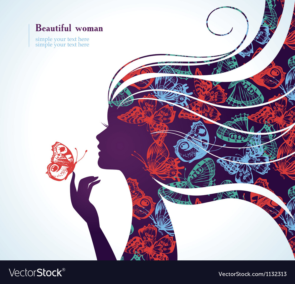 Beautiful girl with butterfly vector | Price: 1 Credit (USD $1)