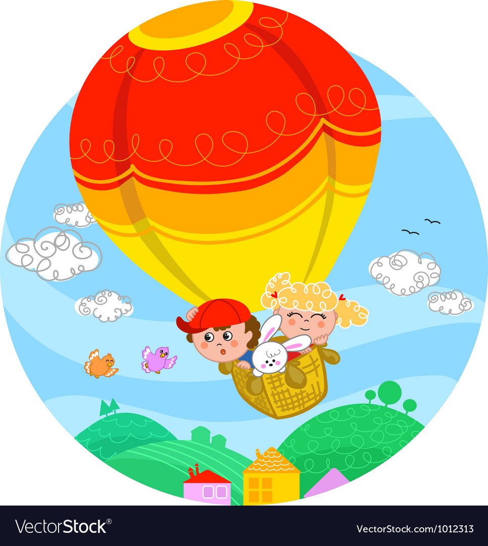 Boy and girl in hot air balloon vector | Price: 3 Credit (USD $3)