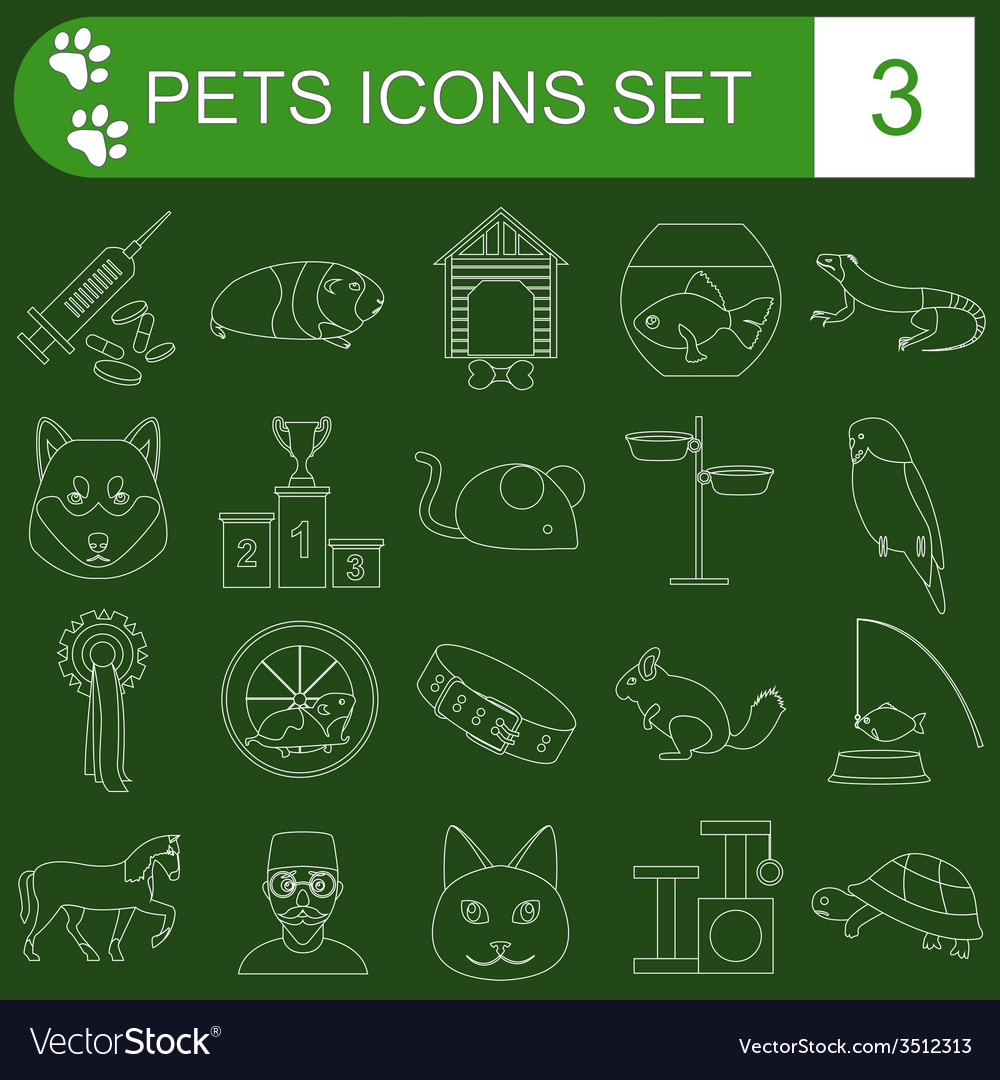 Domestic pets and vet healthcare flat icons set vector | Price: 1 Credit (USD $1)