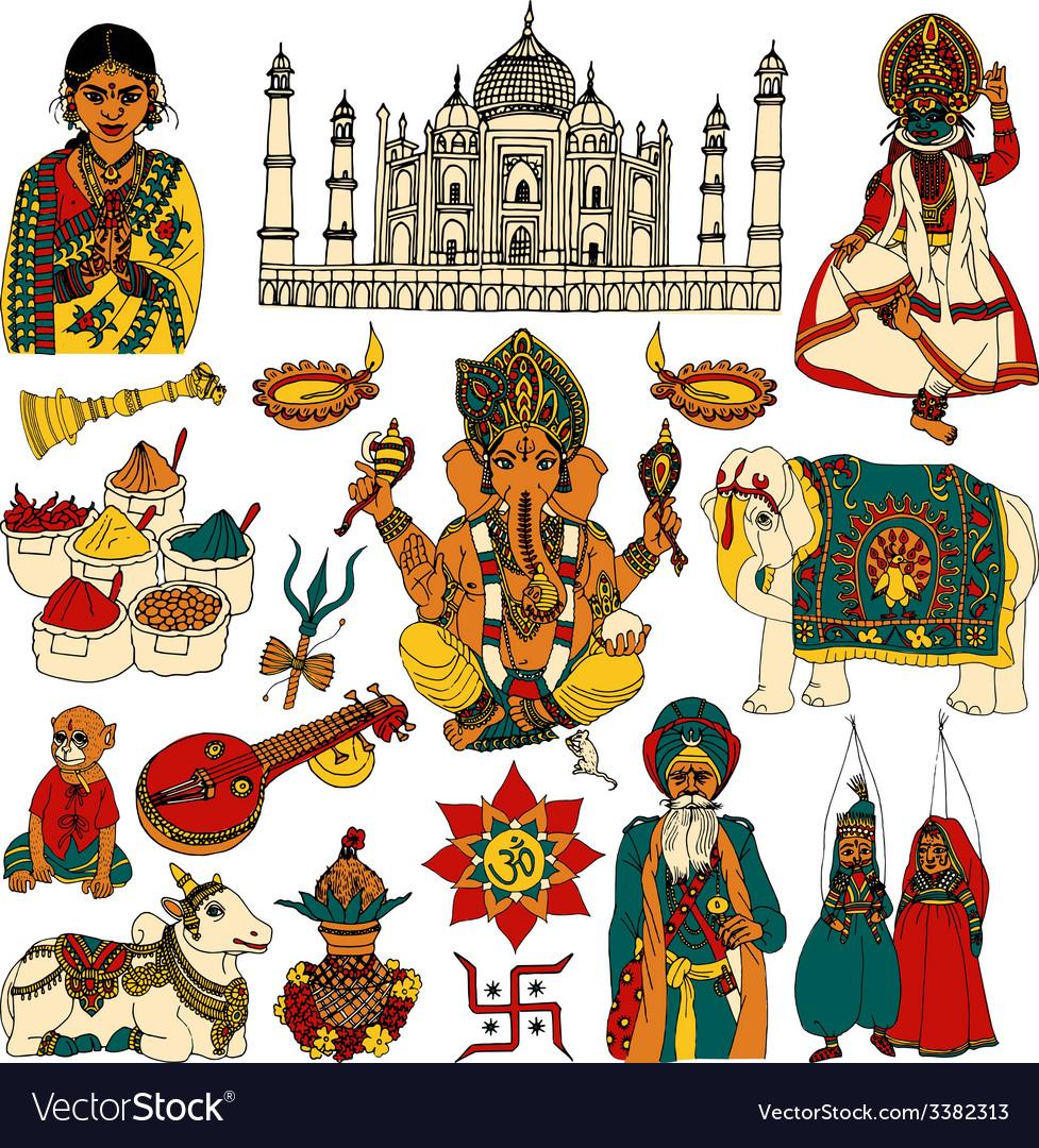 India sketch set vector | Price: 1 Credit (USD $1)