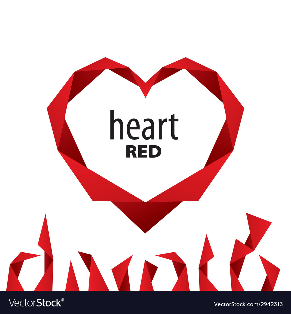 Logo heart from red ribbon vector | Price: 1 Credit (USD $1)