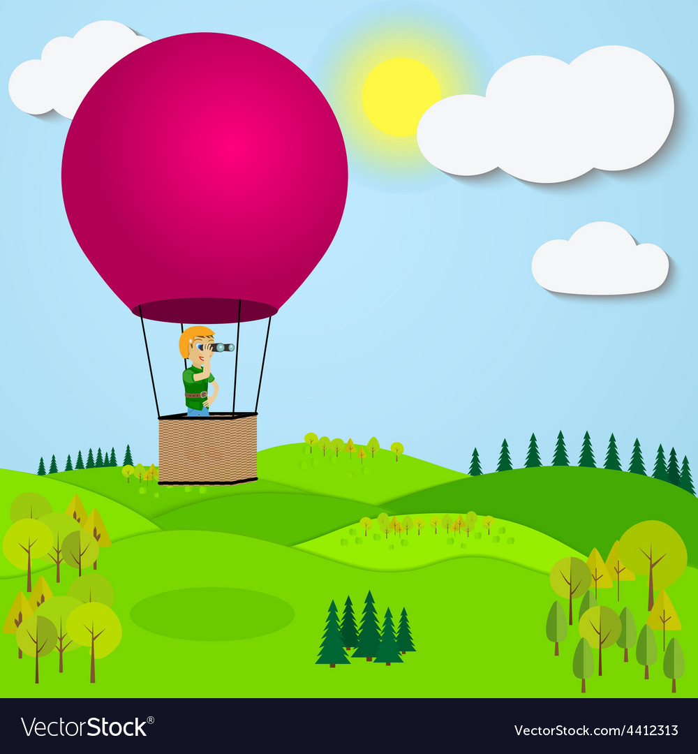Man flying hot air balloon over the a mountain vector | Price: 1 Credit (USD $1)