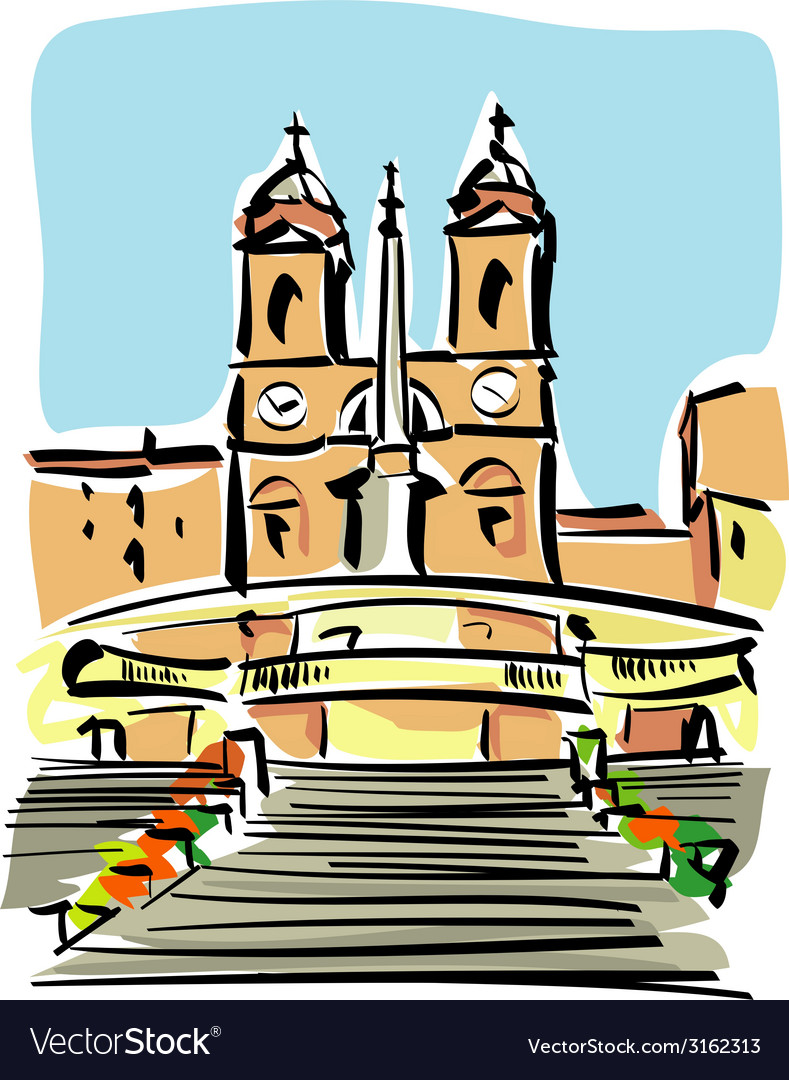 Rome trinita dei monti vector | Price: 1 Credit (USD $1)