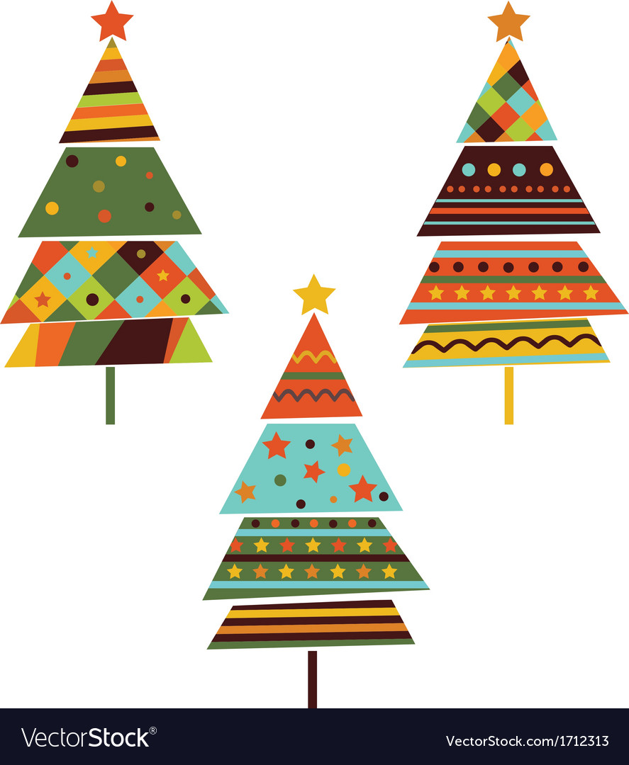 Set of stylized fir trees vector | Price: 1 Credit (USD $1)