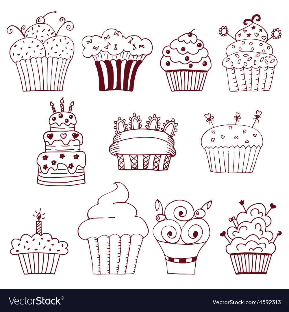 Sketchy set of hand drawn cupcakes vector | Price: 1 Credit (USD $1)