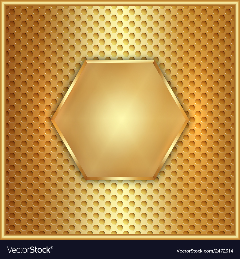 Abstract metal gold hexagon with cells vector | Price: 1 Credit (USD $1)