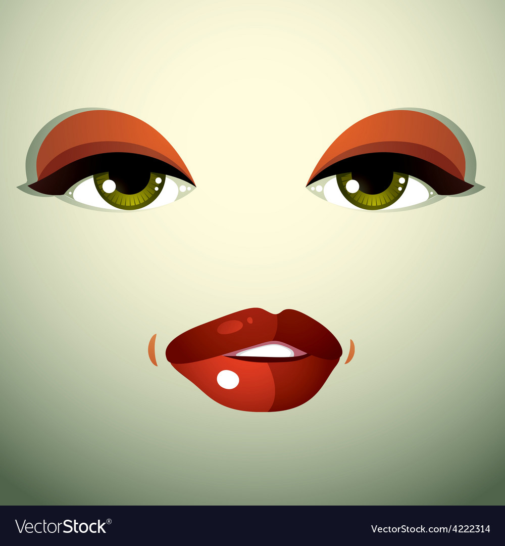 Attractive woman with stylish bright make-up sexy vector | Price: 1 Credit (USD $1)