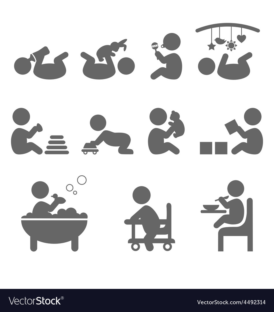 Baby action flat icons isolated on white vector | Price: 1 Credit (USD $1)