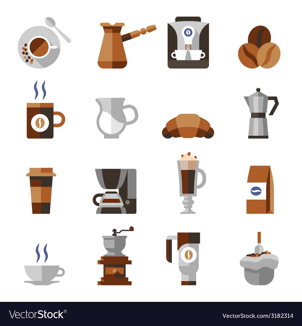 Coffee icons flat set vector | Price: 1 Credit (USD $1)