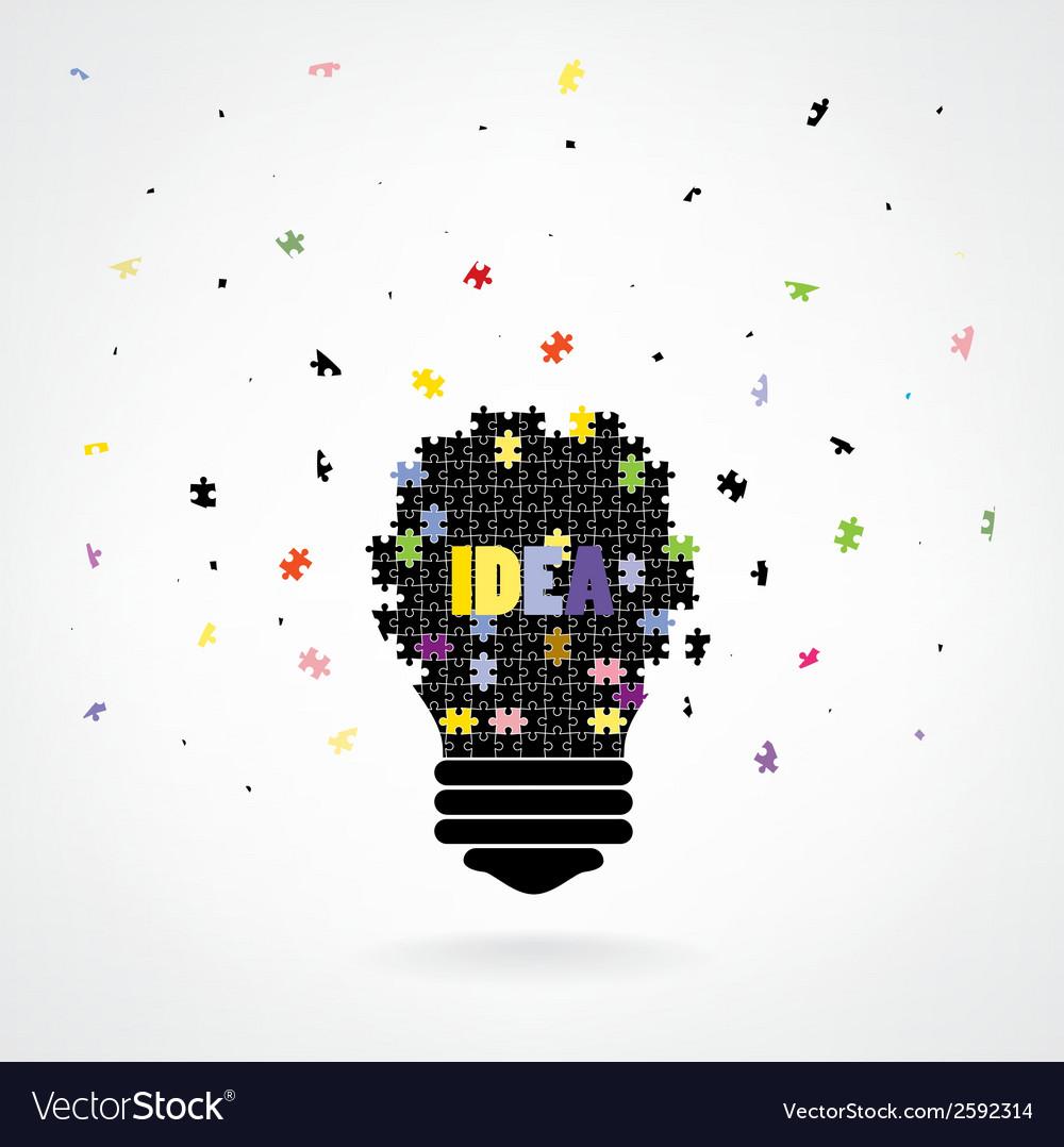 Creative puzzle light bulb idea concept background vector | Price: 1 Credit (USD $1)