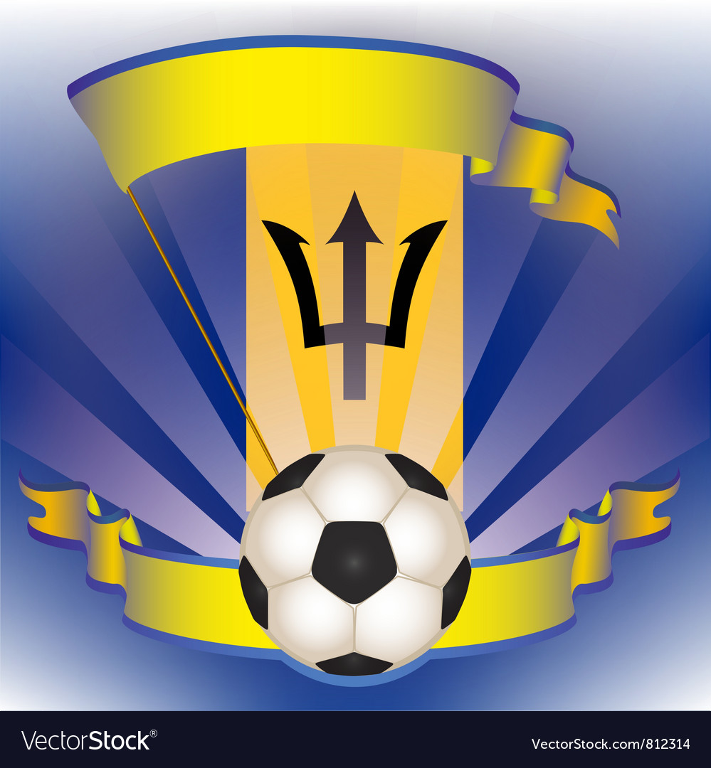 Football poster with barbados flag vector | Price: 1 Credit (USD $1)