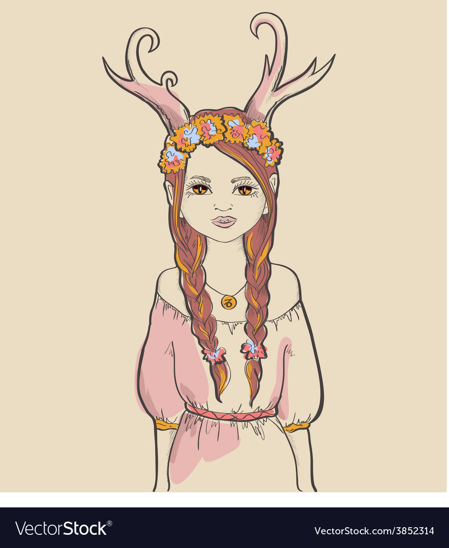 Girl with horns astrological sign of capricorn vector | Price: 1 Credit (USD $1)