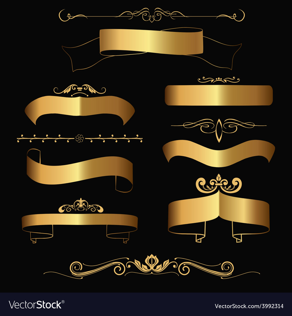 Gold ribbons and ornaments vector | Price: 1 Credit (USD $1)