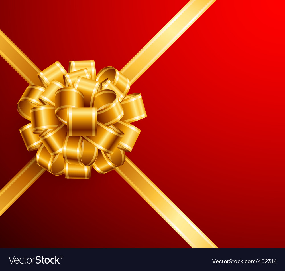 Golden bow on red background vector | Price: 1 Credit (USD $1)