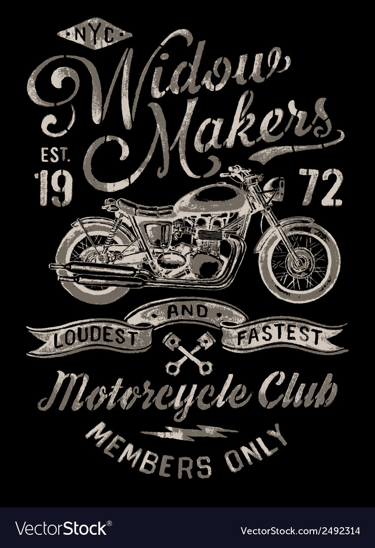 Hand painted vintage motorcycle graphic vector | Price: 1 Credit (USD $1)